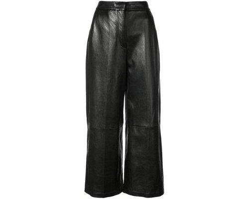 All black: Cropped Wide Fit Lederhose