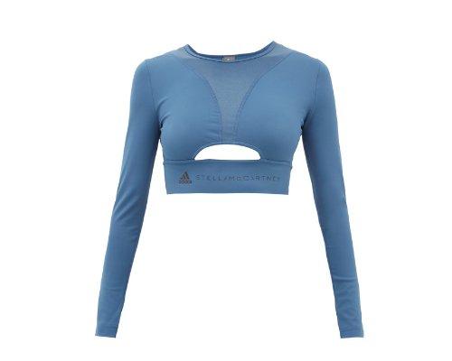 Blau Cropped Cut-Out Top von Adidas By Stella McCartney