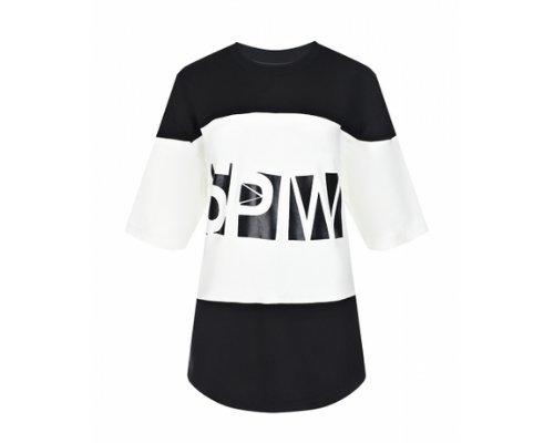 Blogger Look von 5 Preview Printshirt in schwarz-weiß