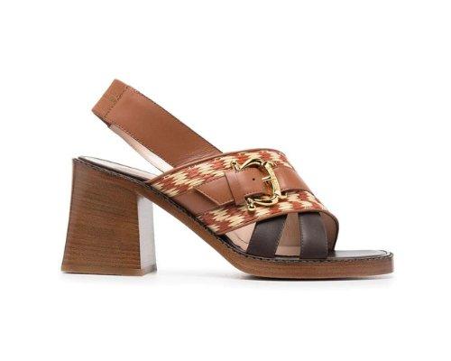 Braunen Sandaletten mit Blockabsatz aus Holz von Armando Pollini