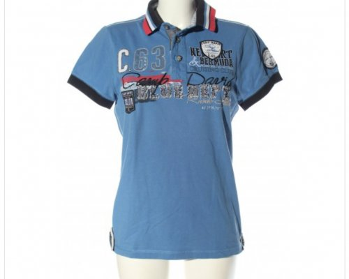 Camp David Polo-Shirt in Blau mit Patches