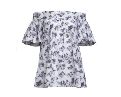 Carmen-Bluse mit Blumen Print von One Step