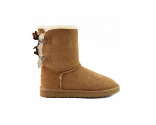 Cognacfarbene UGG Australia Bailey Bow Boots als Ankle Boots