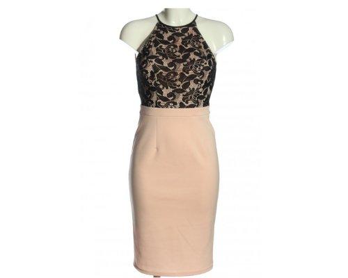 Elegant Neckholder Kleid Farben in Creme-Schwarz von Dorothy Perkins