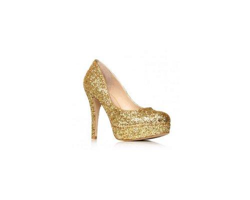 Goldene Party Stilettos von Carvela, ein Hingucker auf jeder Feier