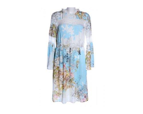 Himmelblau by Lola Paltinger Kleid mit Spitzendetails und floralem Print