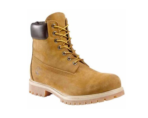 Jeanshemd, Jeans-Shorts, Armbanduhr und gelb-braune Timberland Premium Boots