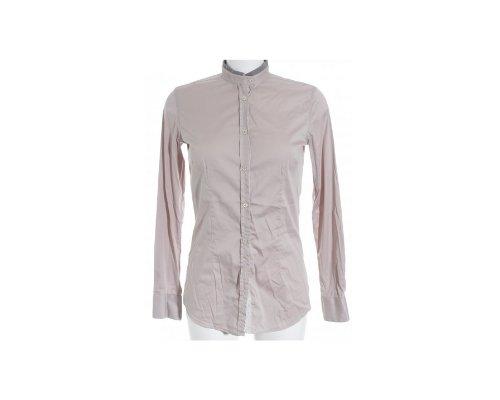 Lockeres Aglini Shirt in nude mit weißer Spitze