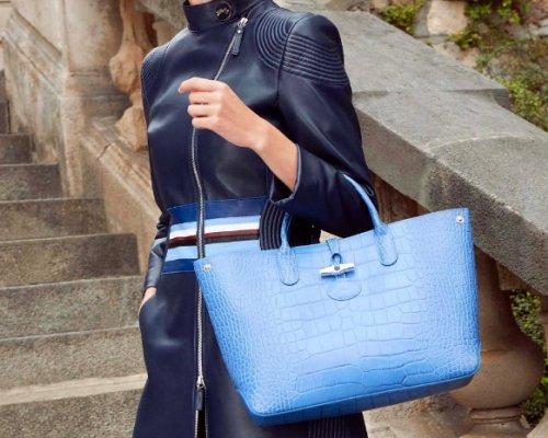 Longchamp Roseau Croco Tasche in Blau