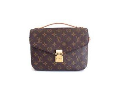 Louis Vuitton Pochette Accessoires mit braunem LV-Monogram und Tragekette