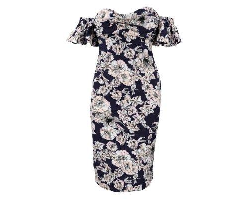 Off-Shoulder Dress mit Blumen-Print von Bardot