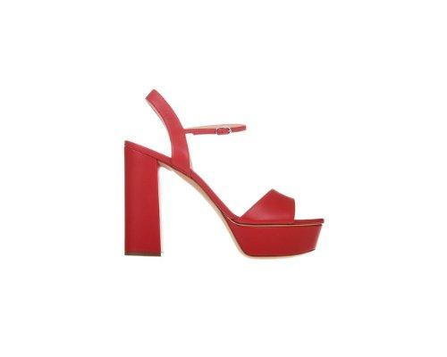 Rote florale High-Heel Sandalette zum Binden von Casadei.