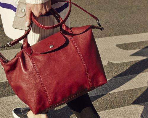 Rote Longchamp Le Pliage Tasche aus Leder