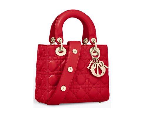 Roter Dior Lady Dior Tasche aus Lackleder