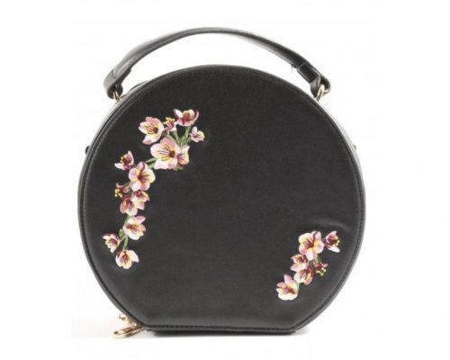 Runde Minitasche mit Blumenapplikation von Banned