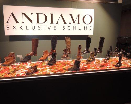 Schaufenster mit exklusiver Schuhkollektion von Andiamo