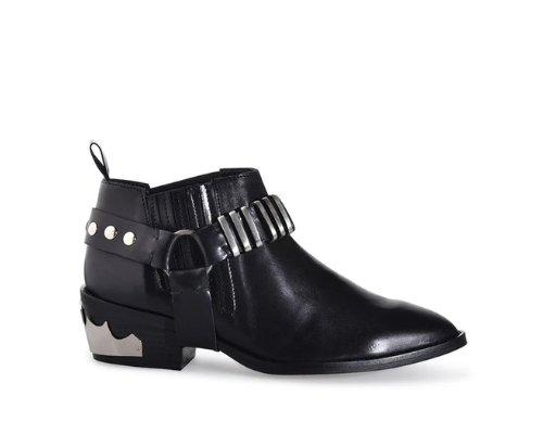Schwarze Ankleboots mit Schnallen von Shoe Biz Copenhagen