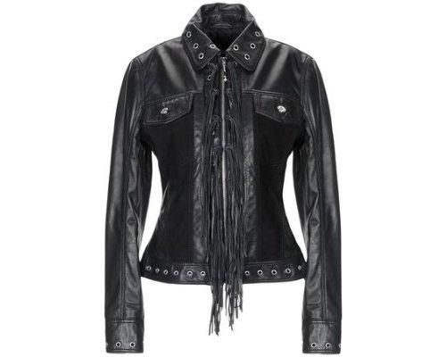 Schwarze Lederjacke mit Fransen Detail von Cavalli