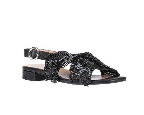 Schwarze Sandalen mit Pailletten bestickt von Apepazza.