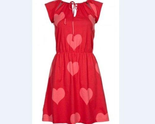 Süßes Printkleidchen mit Herzen in rot von Pink Loop
