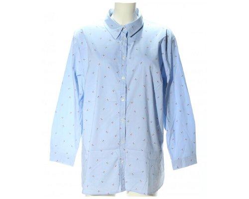 Ulla Popken Hemd Bluse in Blau mit  Kirschdruck