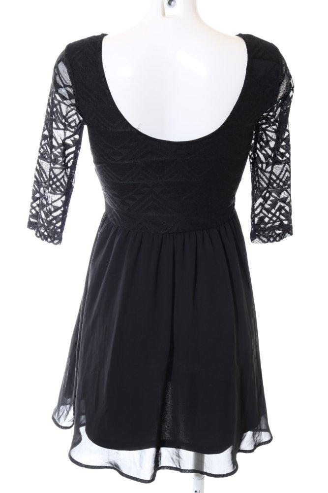 H&M DIVIDED Langarmkleid schwarz grafisches Muster Elegant ...