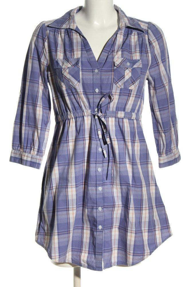 H&M Hemdblusenkleid blau-weiß Allover-Druck Casual-Look ...