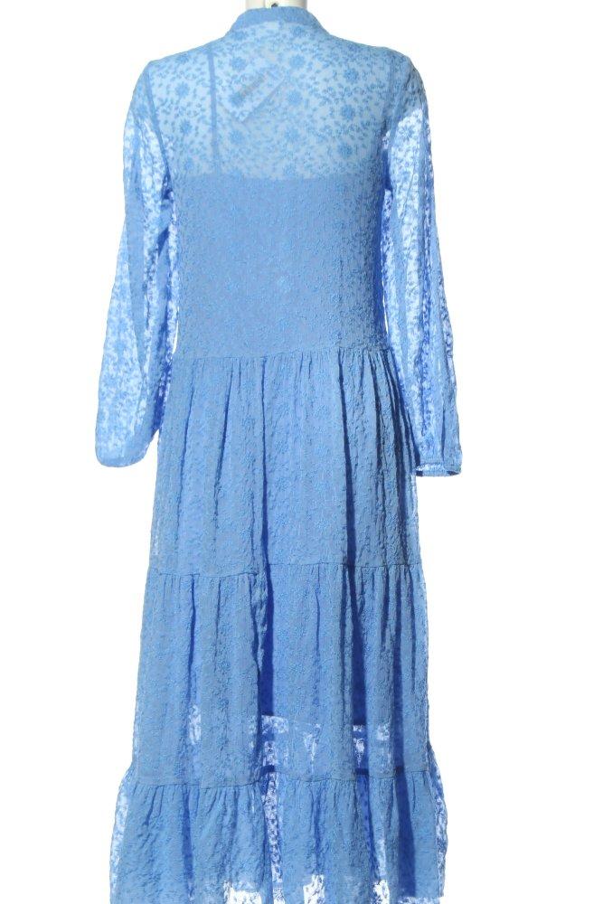 H&M Midikleid blau Blumenmuster Elegant Damen Gr. DE 34 ...