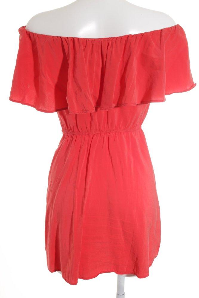 MANGO SUIT schulterfreies Kleid rot Stofflagen-Detail ...