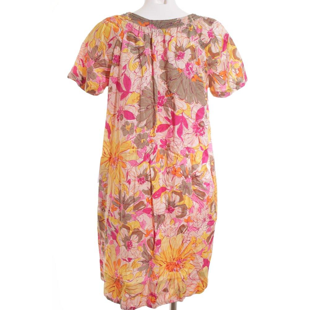 0039 italy a linien kleid florales muster elegant damen gr de 38 gelb dress ebay. Black Bedroom Furniture Sets. Home Design Ideas