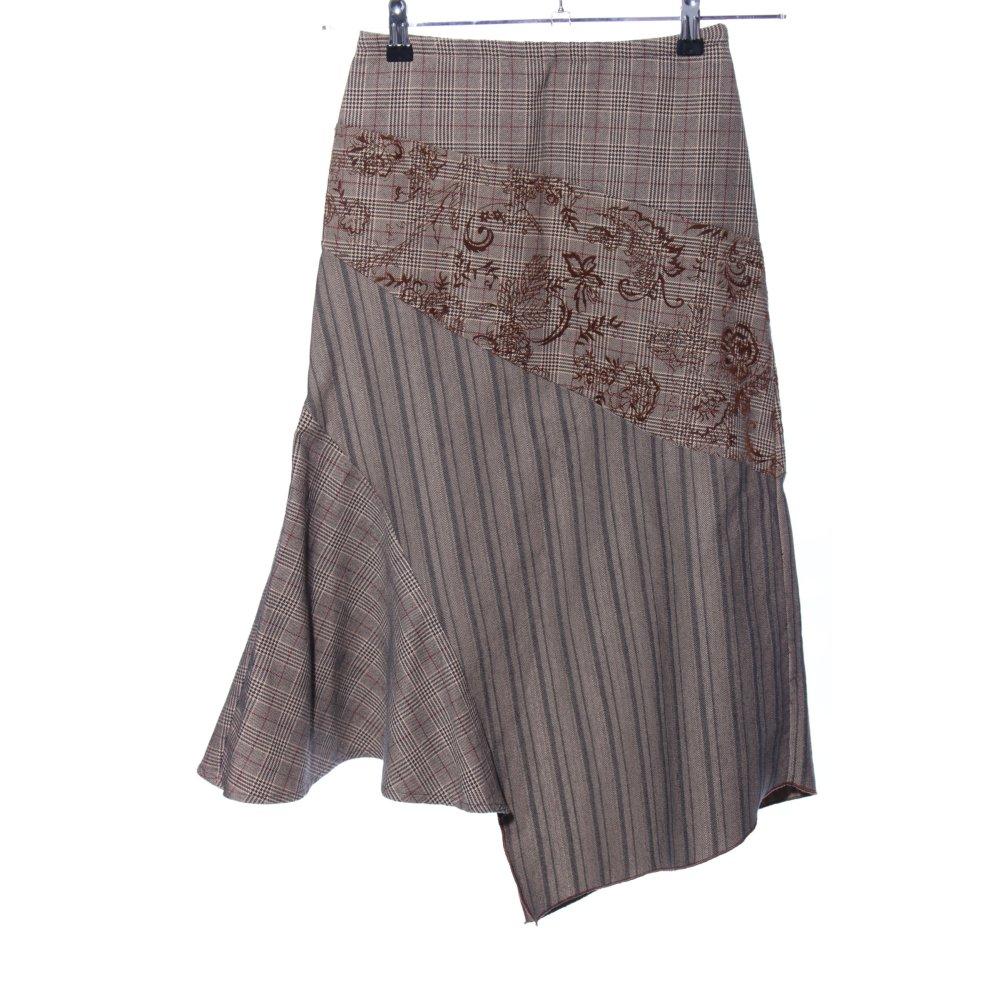 Détails sur 3 SUISSES Jupe mi longue brun crème motif de fleur style classique Dames T 34