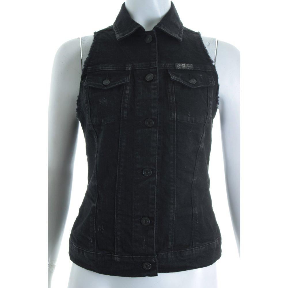 7 for all mankind jeansweste schwarz biker look damen gr de 36 weste vest ebay. Black Bedroom Furniture Sets. Home Design Ideas