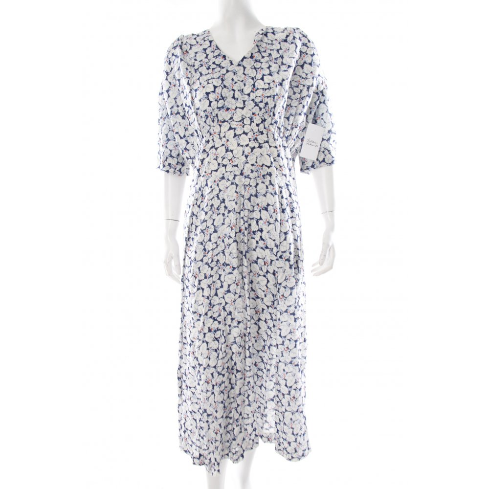a linien kleid blumenmuster beach look damen gr de 40 wei dress a line dress ebay. Black Bedroom Furniture Sets. Home Design Ideas