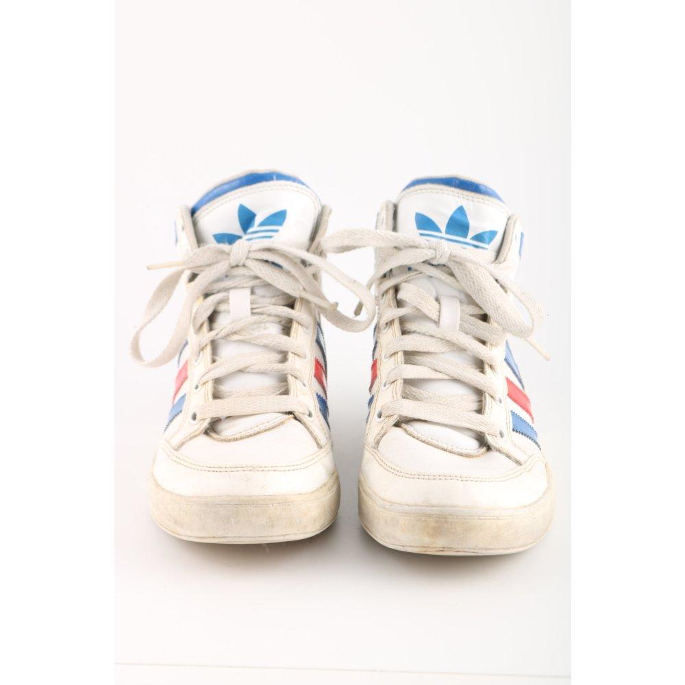 Détails sur ADIDAS Basket montante multicolore style décontracté Dames T 38,5 blanc