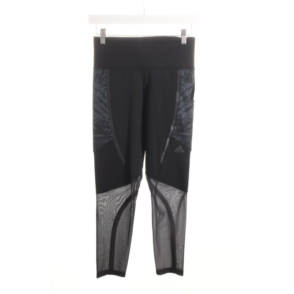 adidas leggings schwarz grau florales muster materialmix look damen gr de 36 ebay. Black Bedroom Furniture Sets. Home Design Ideas