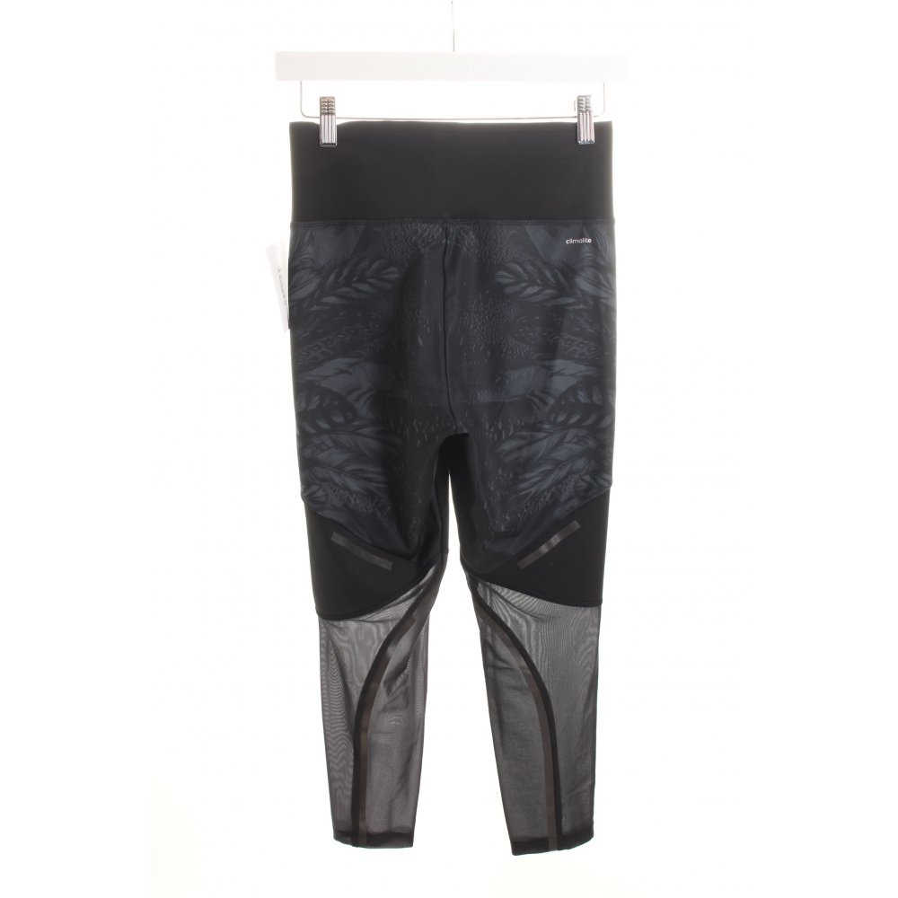 adidas leggings schwarz grau florales muster materialmix look damen gr de 36. Black Bedroom Furniture Sets. Home Design Ideas