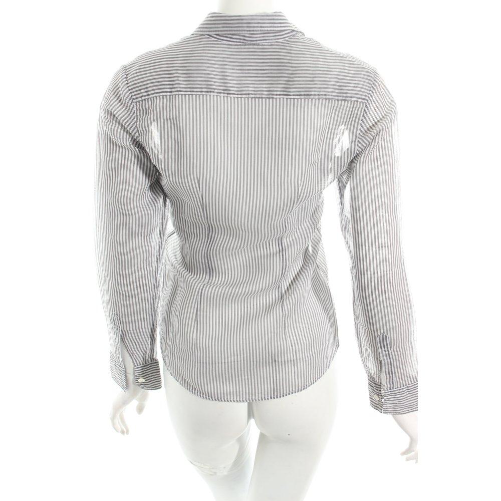 Amina rubinacci langarm bluse wei grau streifenmuster for Klassischer stil