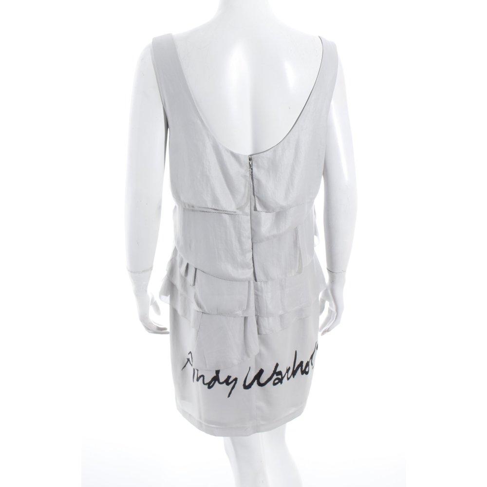 andy warhol by pepe jeans london minikleid hellgrau schwarz schriftzug gedruckt ebay. Black Bedroom Furniture Sets. Home Design Ideas