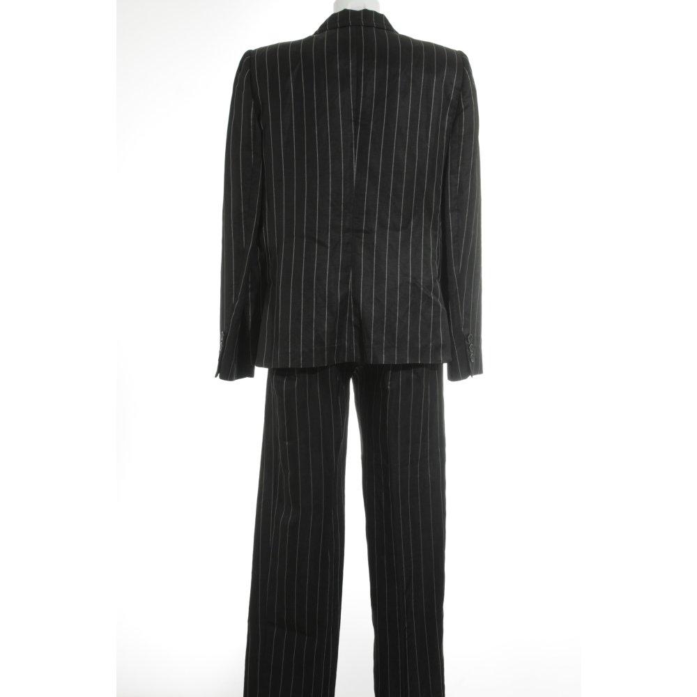 armani hosenanzug schwarz wei streifenmuster business look damen gr de 44 suit ebay. Black Bedroom Furniture Sets. Home Design Ideas