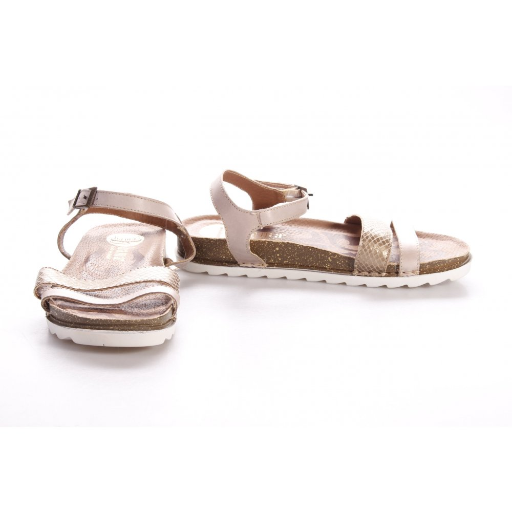 bama riemchen sandalen beige goldfarben animalmuster minimalistischer stil damen ebay. Black Bedroom Furniture Sets. Home Design Ideas