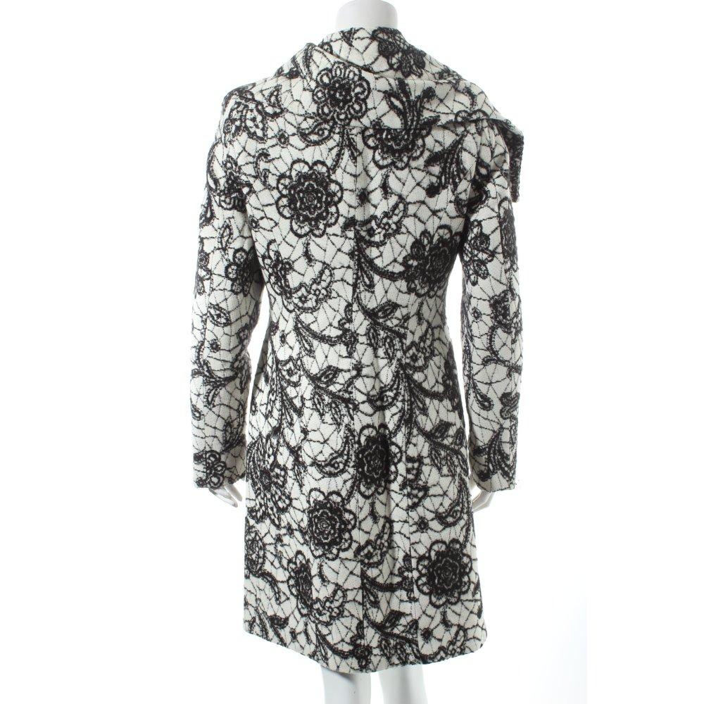 bandolera wintermantel wei schwarz florales muster extravaganter stil damen ebay. Black Bedroom Furniture Sets. Home Design Ideas