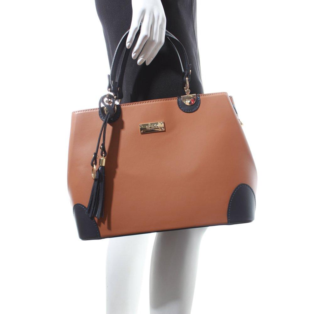 bcbg handtasche braun dunkelblau klassischer stil damen. Black Bedroom Furniture Sets. Home Design Ideas