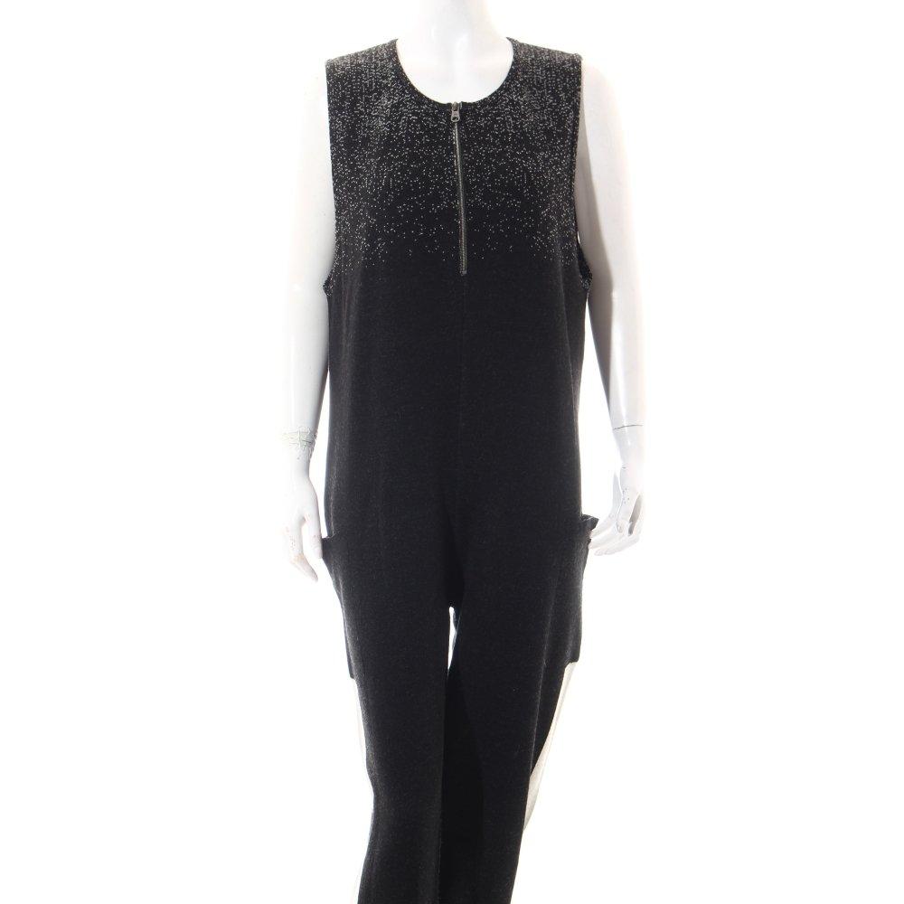 benetton jumpsuit schwarz wei extravaganter stil damen gr de 38 hose trousers ebay. Black Bedroom Furniture Sets. Home Design Ideas