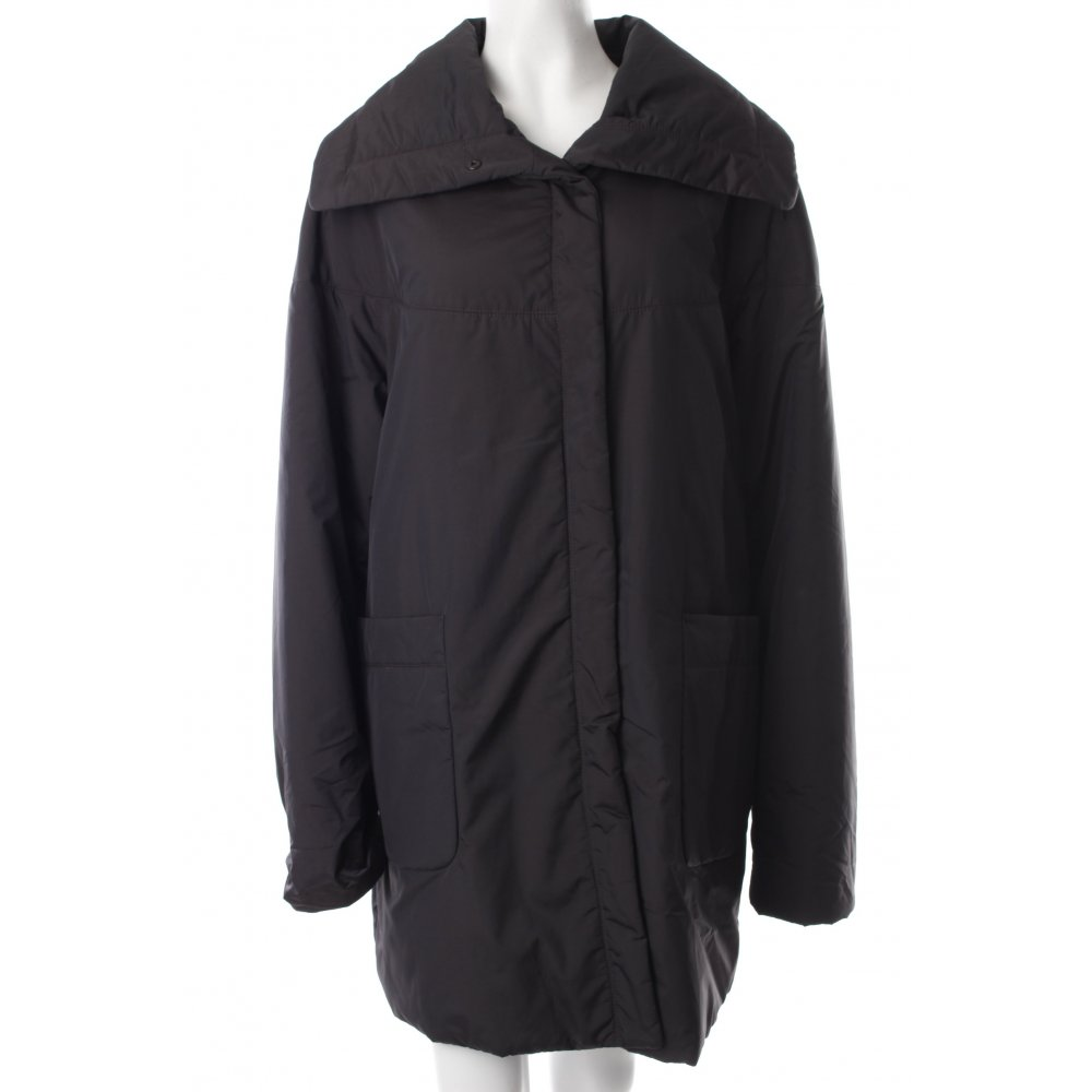 blue strenesse wintermantel schwarz glanz optik damen gr de 38 mantel coat ebay. Black Bedroom Furniture Sets. Home Design Ideas