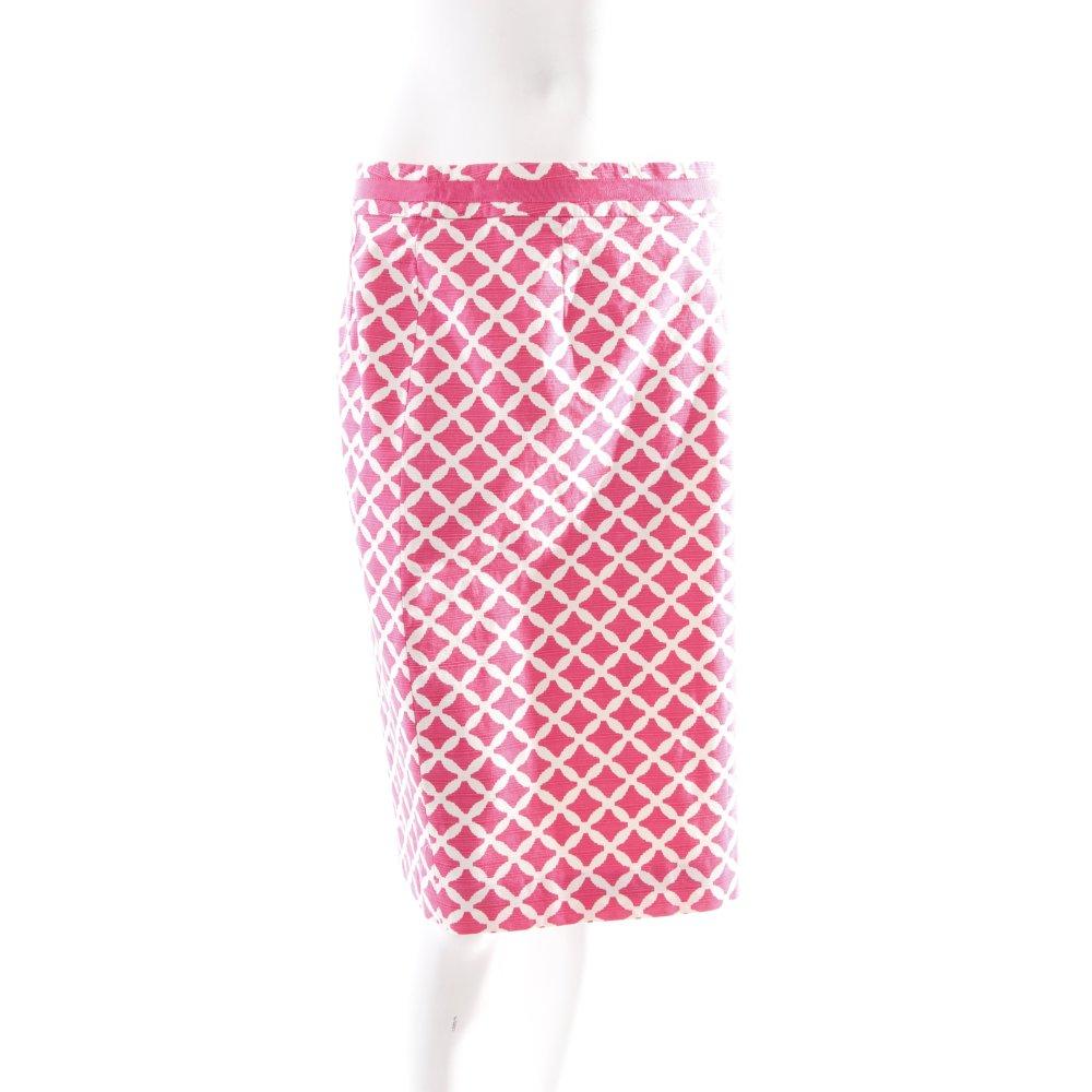 Boden bleistiftrock pink wei kunstmuster bortenbesatz for Boden mode schuhe