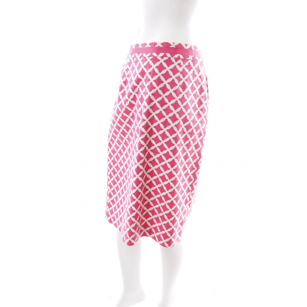 Boden bleistiftrock pink wei kunstmuster bortenbesatz for Mode boden versand