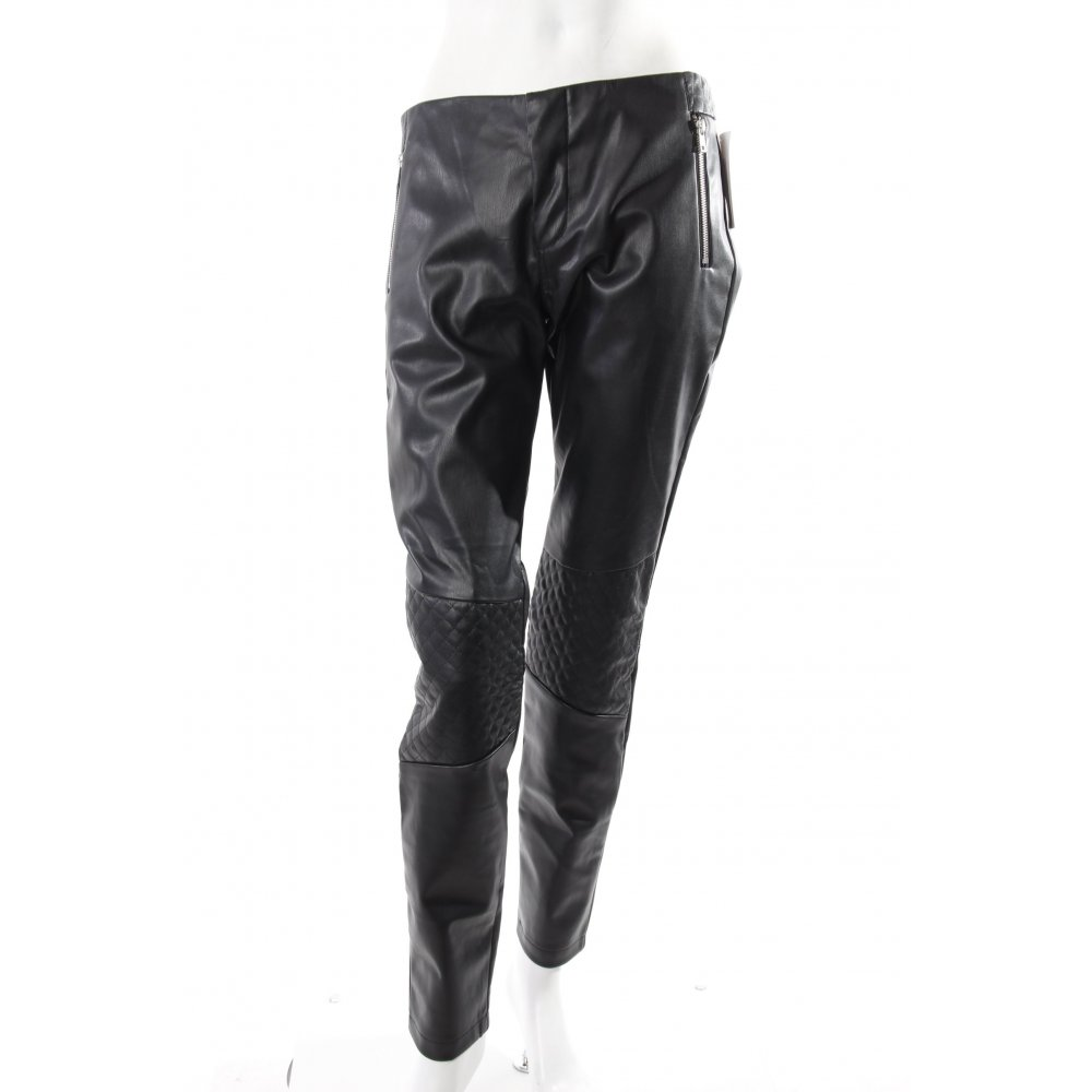 broadway hose schwarz lederimitat damen gr de 38 trousers. Black Bedroom Furniture Sets. Home Design Ideas