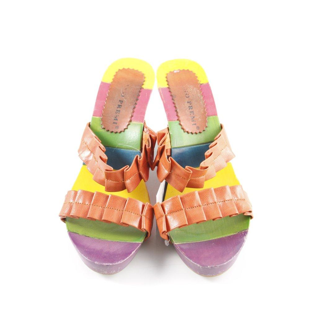 Detalles de BRUNO PREMI Sandalias tipo cuña multicolor look casual Mujeres Talla EU 36 coñac