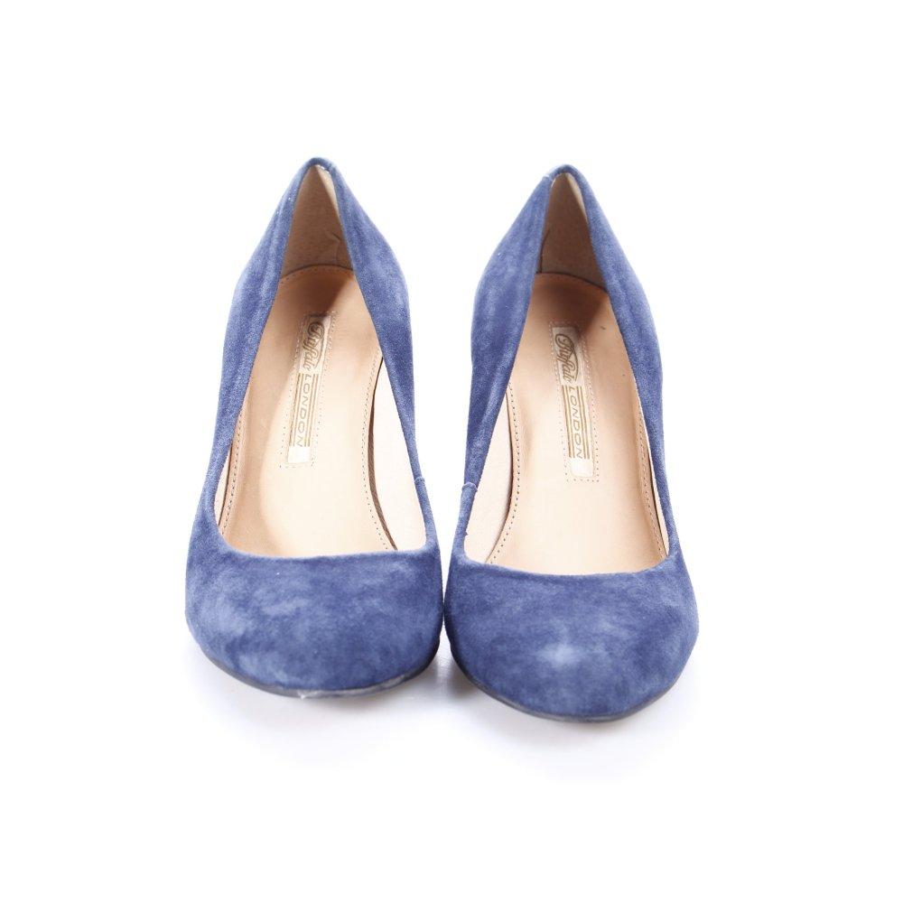 buffalo pumps blau schlichter stil damen gr de 36 schuhe shoes leder. Black Bedroom Furniture Sets. Home Design Ideas