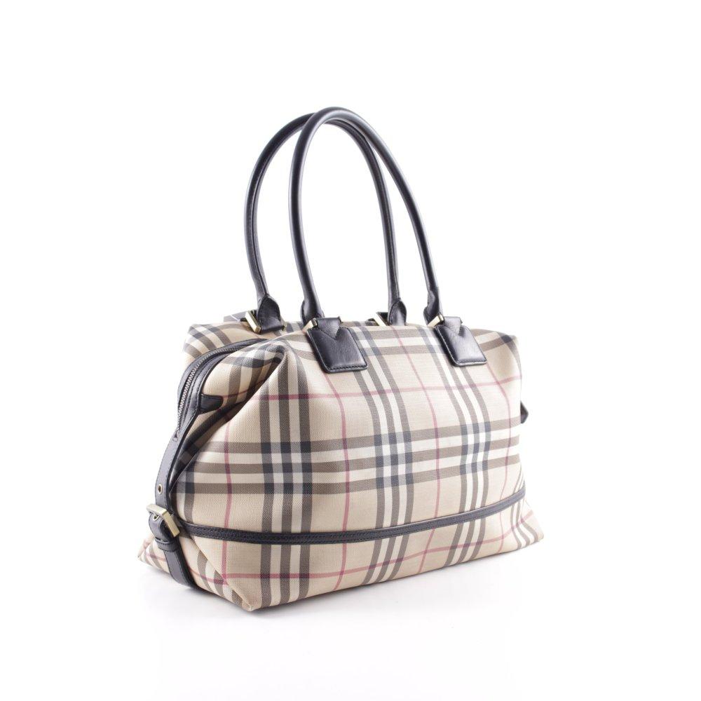 burberry henkeltasche schwarz dunkelrot karomuster klassischer stil damen tasche ebay. Black Bedroom Furniture Sets. Home Design Ideas